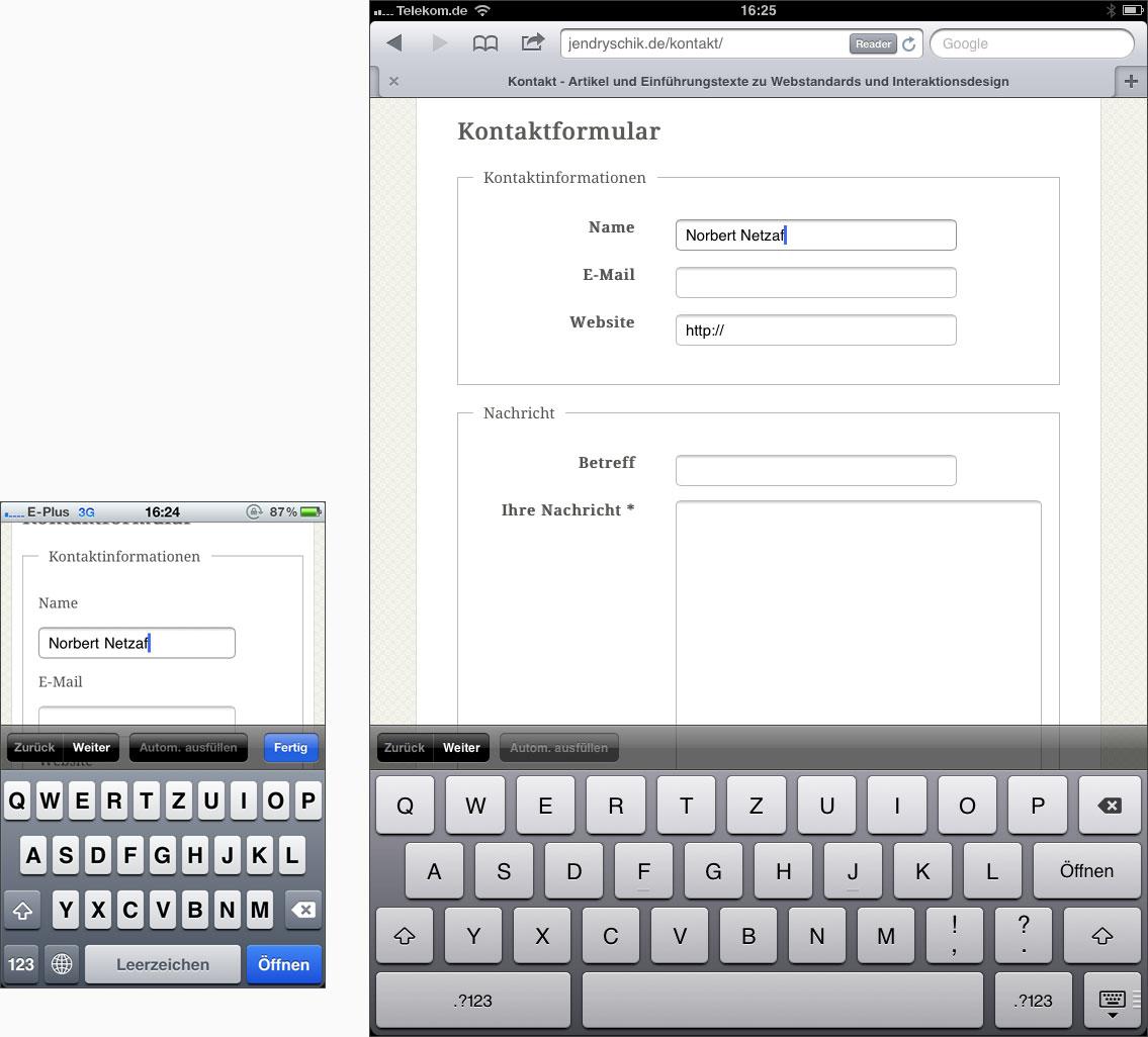 Ausfüllen eines Kontaktformulars auf dem iPhone und iPad
