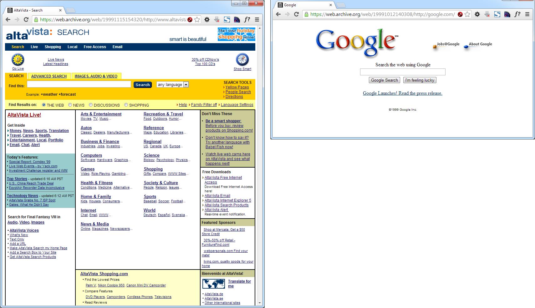 Abbildung 2: AltaVista und Google 1999 (Quelle: archive.org)
